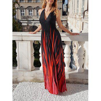 Sexy Halter Neck Sleeveless Ombre Plus Size Women's Prom Dress - RED WITH BLACK 7XL