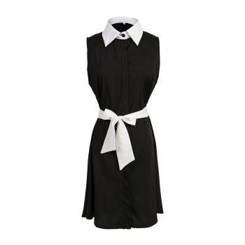 Chic Sleeveless Shirt Collar Hit Color Women's Dress