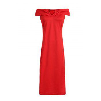 OL Style Off The Shoulder Red Dress For Women