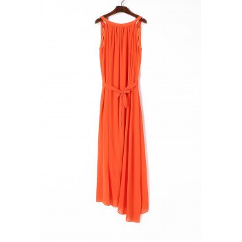 Elegant Spaghetti Strap Sleeveless Solid Color Self Tie Belt Women's Beach Dress