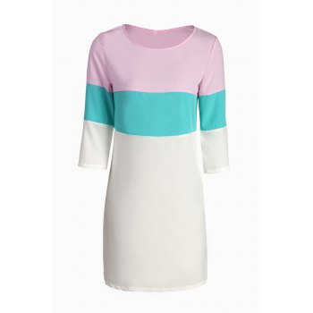 Stylish Round Neck 3/4 Sleeve Color Block Loose Women's Dress