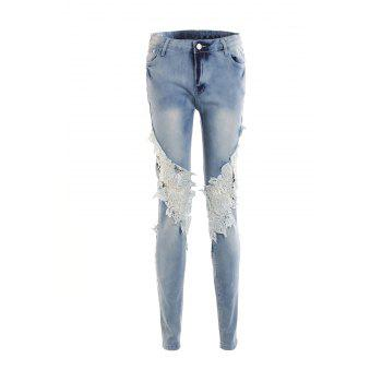 Stylish Mid-Waisted Lace Embellished Pocket Design Women's Jeans