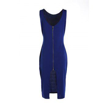 Sexy V-Neck Sleeveless Slit Zippered Bodycon Women's Dress