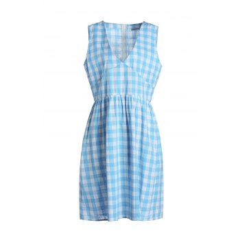 Vintage Sleeveless V-Neck Gingham Women's Flare Dress