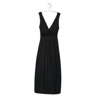 Sexy Plunging Neck Sleeveless Pure Color Women's Maxi Dress