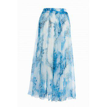 Stylish Elastic Waist Printed Chiffon Women's Maxi Skirt