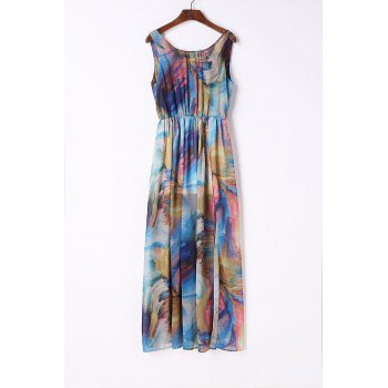 Chic Sleeveless Scoop Neck Printed Chiffon Women's Dress