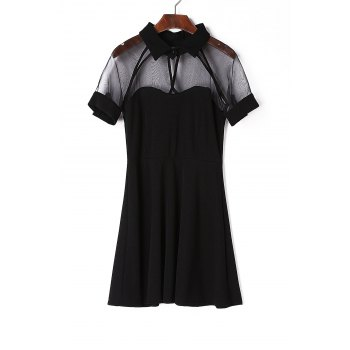 Stylish Flat Collar Short Sleeve See-Through Black Dress For Women
