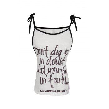 Stylish Spaghetti Strap Letter Print Lace-Up Women's Tank Top