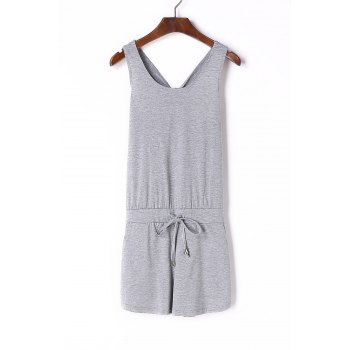 Stylish Scoop Neck Sleeveless Hollow Out Women's Romper