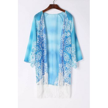 Stylish Collarless 3/4 Sleeve Fringe Design Chiffon Women's Kimono Blouse