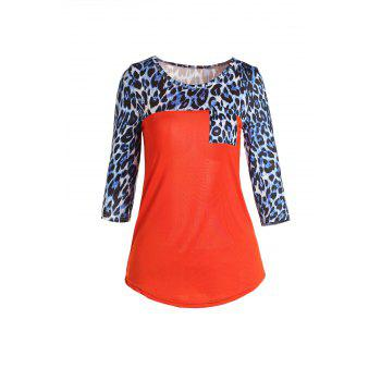 Stylish Scoop Neck 3/4 Sleeve Spliced Leopard Print Women's T-Shirt