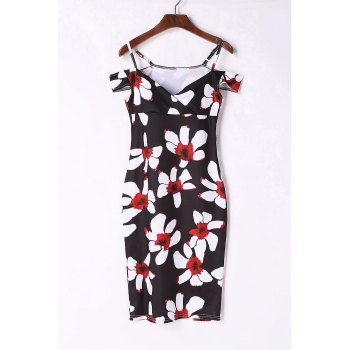 Sexy Short Sleeve Spaghetti Strap Floral Print Women's Bodycon Dress