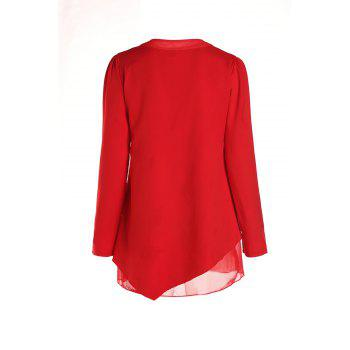 Graceful Long Sleeve Round Collar Women's Red Blouse - RED M