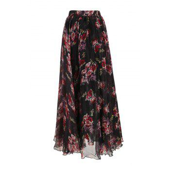 Stylish Elastic Waist Flower Pattern Women's Chiffon Skirt