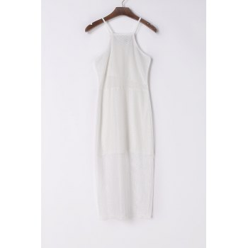 Sexy Spaghetti Strap Sleeveless White See-Through Women's Beach Dress
