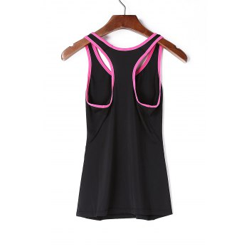 Stylish Scoop Neck Stretchy Women's Yoga Tank Top - BLACK/ROSE RED BLACK/ROSE RED