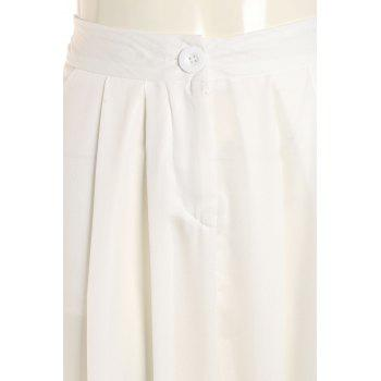 Linen Wide Leg Pants - WHITE M