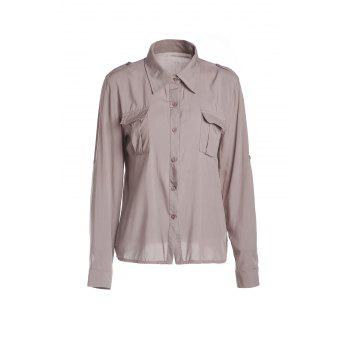 Fashionable Pocket Design Single-Breasted Long Sleeve Shirt For Women