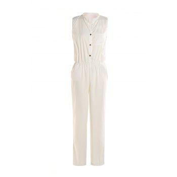 Stylish Sleeveless Stand-Up Collar Pure Color Women's Jumpsuit