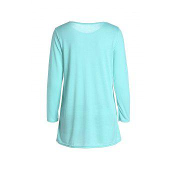 Casual Scoop Neck Solid Color Nine-Minute Sleeves Women's T-Shirt - GREEN L