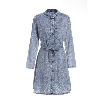 Stylish Self-Tie Long Sleeve Stand-Up Collar Women's Denim Dress - AS THE PICTURE AS THE PICTURE