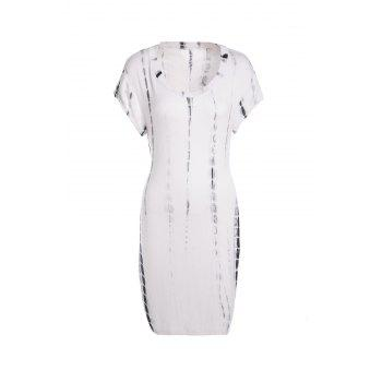 Stylish Scoop Neck Sleeveless Bodycon Tie Dye Women's Dress - WHITE AND BLACK XXL