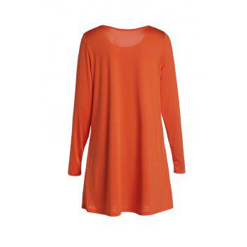 Endearing Candy Color Long Sleeve Straight Chiffon Dress For Women - M M