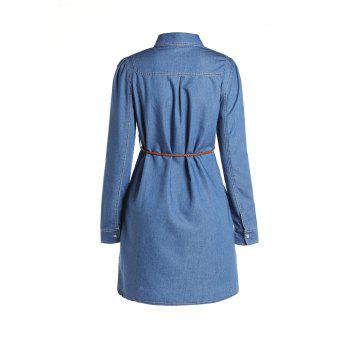 Fashionable Long Sleeve Buttoned Slimming Denim Dress For Women - M M