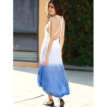 Open Back Ombre Tea Length Dress - ROYAL BLUE XL