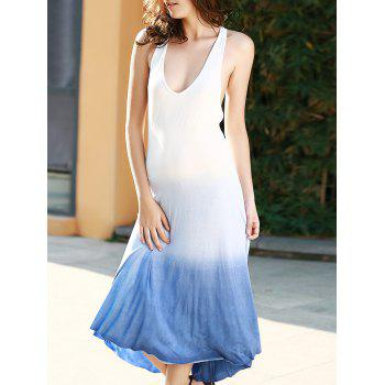 Open Back Ombre Tea Length Dress