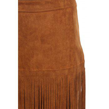 Stylish Women's Multi-Layered Fringe Solid Color Suede Skirt - M M