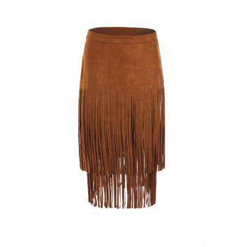 Stylish Women's Multi-Layered Fringe Solid Color Suede Skirt