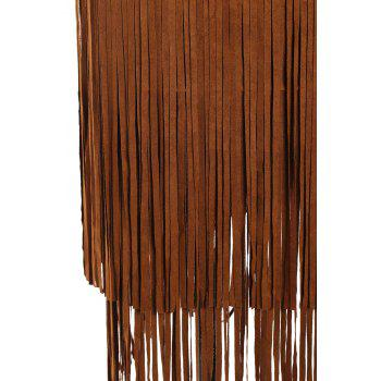 Stylish Women's Multi-Layered Fringe Solid Color Suede Skirt - BROWN BROWN