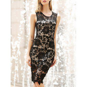 Elegant Sleeveless Jewel Neck Bodycon Lace Dress For Women