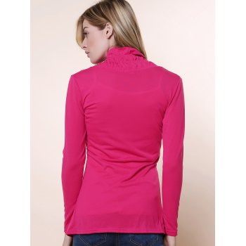 Stylish Plunging Neck Solid Color Flouncing Long Sleeve Women's Cardigan - ROSE M