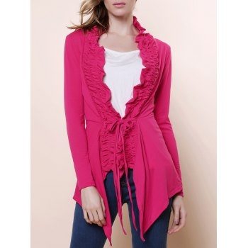 Stylish Plunging Neck Solid Color Flouncing Long Sleeve Women's Cardigan