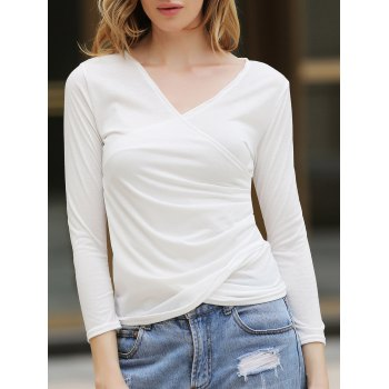 Elegant V-Neck Fold Style Quarter Sleeves Cotton T-Shirt For Women - WHITE ONE SIZE