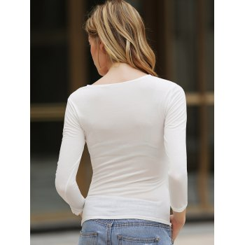 Elegant V-Neck Fold Style Quarter Sleeves Cotton T-Shirt For Women - ONE SIZE ONE SIZE