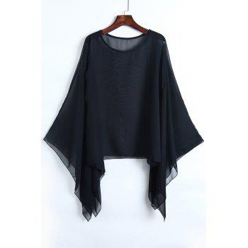 Sexy See-Through Scoop Neck Solid Color Long Sleeve Blouse For Women