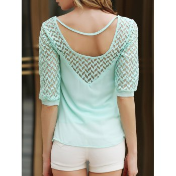 Stylish Half Sleeve Scoop Neck Hollow Out Chiffon Women's Blouse