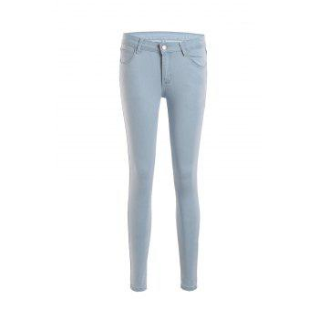 Stylish Mid-Waisted Bleach Wash Slimming Women's Jeans