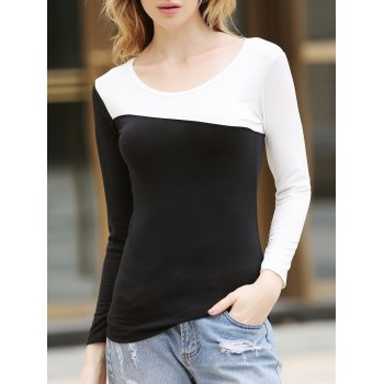 Korean Style Chic Round Neckline Diagonal Colormatching Long Sleeves Lycra Under Shirt For Women - BLACK ONE SIZE