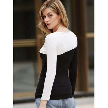 Korean Style Chic Round Neckline Diagonal Colormatching Long Sleeves Lycra Under Shirt For Women - ONE SIZE ONE SIZE