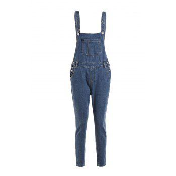 Stylish Loose-Fitting Pocket And Button Design Women's Overalls