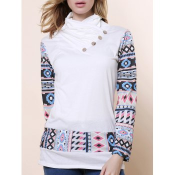 Stylish Long Sleeve Cowl Neck Printed Button Embellished Spliced Women's Sweatshirt