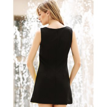 Color Block Splicing Round Collar Sleeveless Trendy Style Women's Dress - COLORMIX COLORMIX