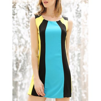 Color Block Splicing Round Collar Sleeveless Trendy Style Women's Dress
