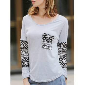 Charming Scoop Neck Geometric Print Spliced T-Shirt For Women