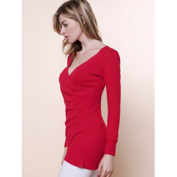Sexy V-Neckline Ruffled and Asymmetric Hem Design Women's Knitted Fabric Dress - RED ONE SIZE